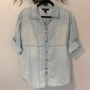 Nine West 2018 Pearl Studded Hayden Chambray Top